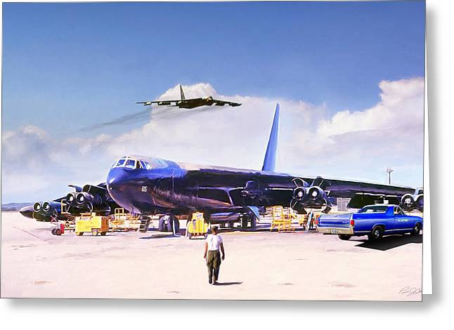 Greeting Card featuring the digital art My Baby B-52 by Peter Chilelli