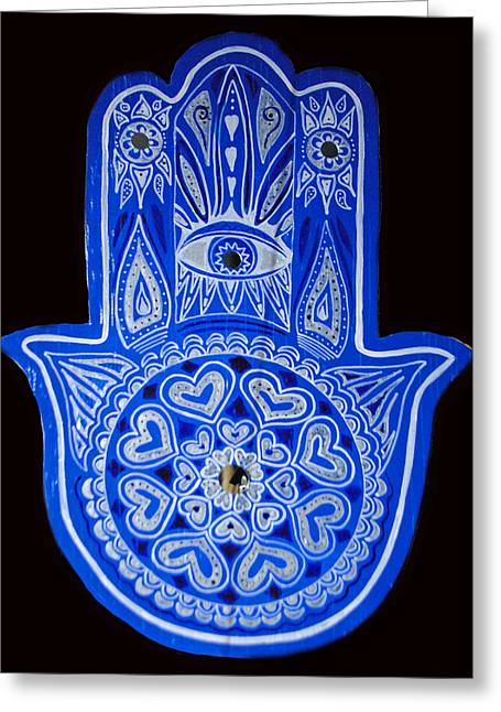 My Blue Hamsa Greeting Card by Patricia Arroyo