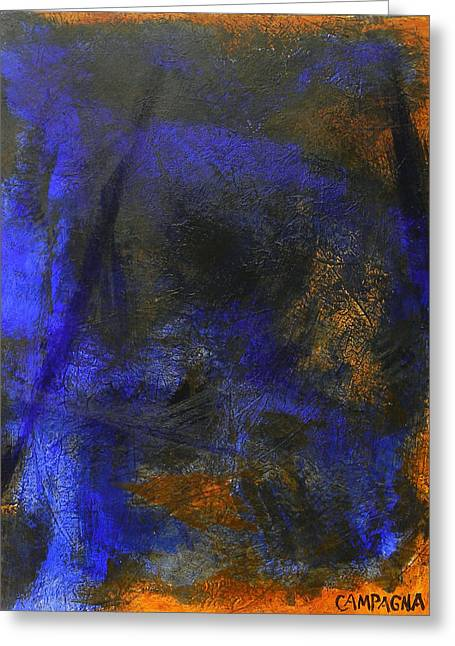 Greeting Card featuring the painting My Blue by Teddy Campagna