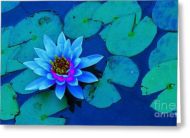 My Blue Water Lily Greeting Card by Jasna Gopic