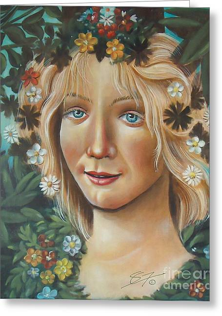 Greeting Card featuring the painting My Botticelli by S G