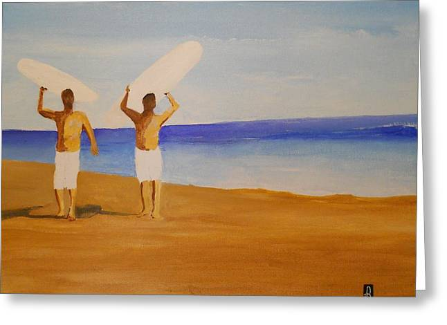 my brother and I Greeting Card by Fred Reid