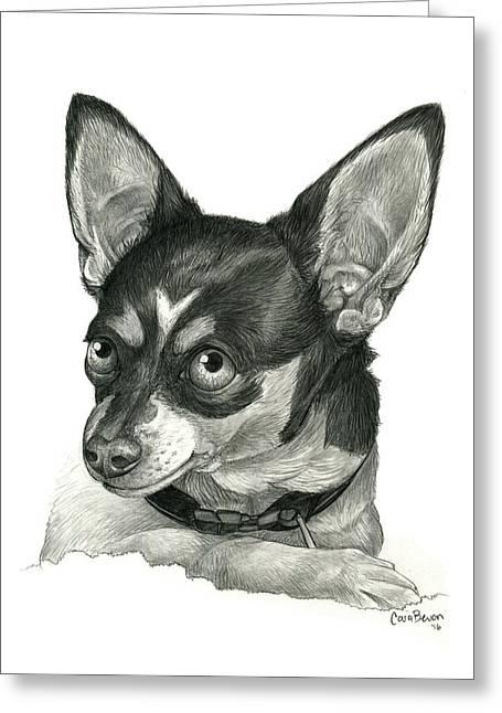 My Chihuahua Greeting Card by Cara Bevan