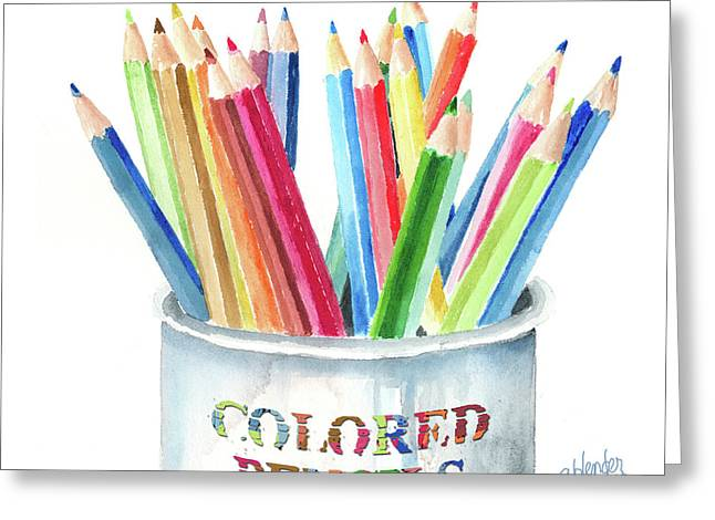 My Colored Pencils Greeting Card by Arline Wagner