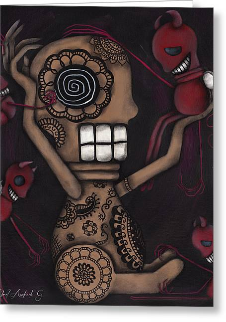 Halloween Folk Art Greeting Cards - My Conscience Greeting Card by  Abril Andrade Griffith