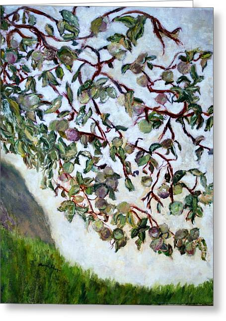 Greeting Card featuring the painting My Daughter's Apple Tree by Aleezah Selinger