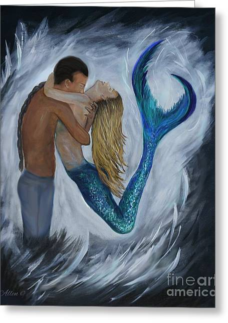 Greeting Card featuring the painting My Dream Mermaid by Leslie Allen
