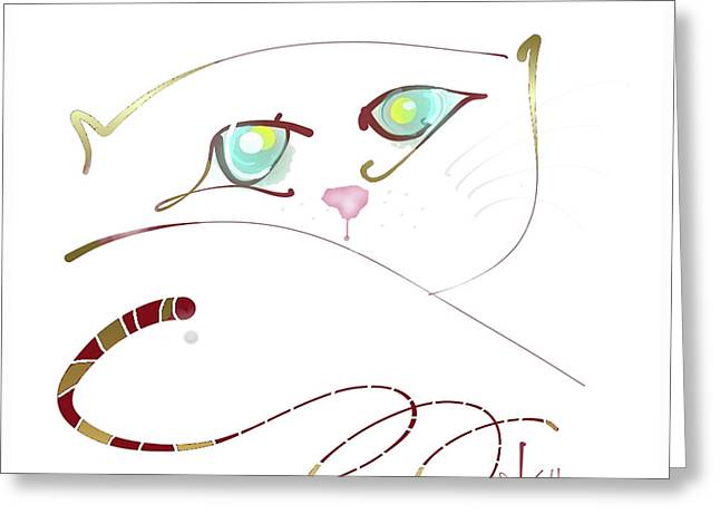 Greeting Card featuring the painting My Eyes Are Up Here by Larry Talley