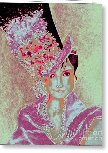 My Fair Audrey -- In Raspberry And Orange Greeting Card
