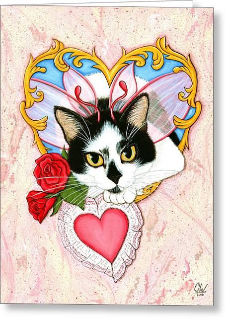My Feline Valentine Tuxedo Cat Greeting Card