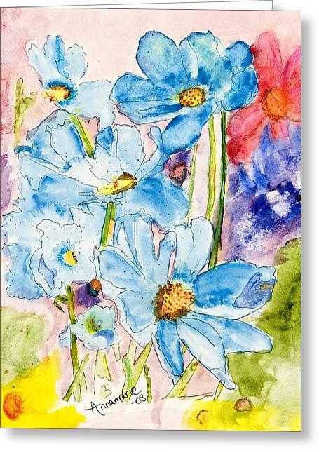 My Flower Garden Greeting Card by Annamarie Sidella-Felts