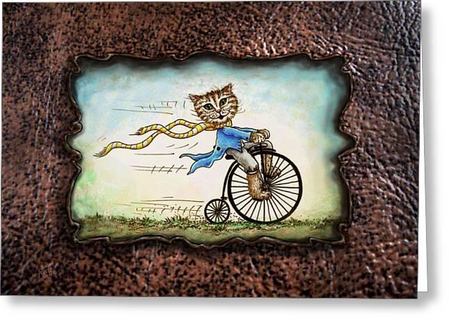 Living Flamboyantly Leather Border Greeting Card by Retta Stephenson