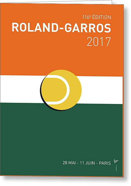 Greeting Card featuring the digital art My Grand Slam 02 Rolandgarros 2017 Minimal Poster by Chungkong Art