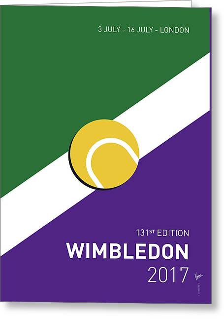 Greeting Card featuring the digital art My Grand Slam 03 Wimbeldon Open 2017 Minimal Poster by Chungkong Art