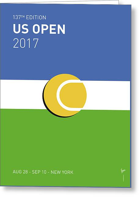 Greeting Card featuring the digital art My Grand Slam 04 Us Open 2017 Minimal Poster by Chungkong Art