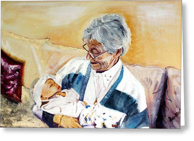 my granddaughter Leonie with her great grandmum Greeting Card by Helmut Rottler