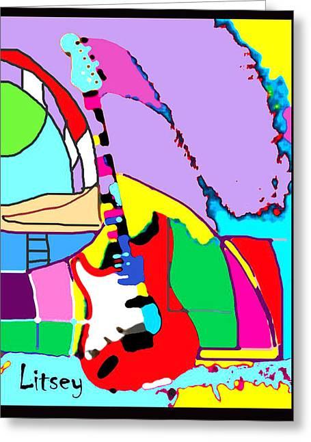 My Guitar Gently Weeps Greeting Card by International Artist Brent Litsey