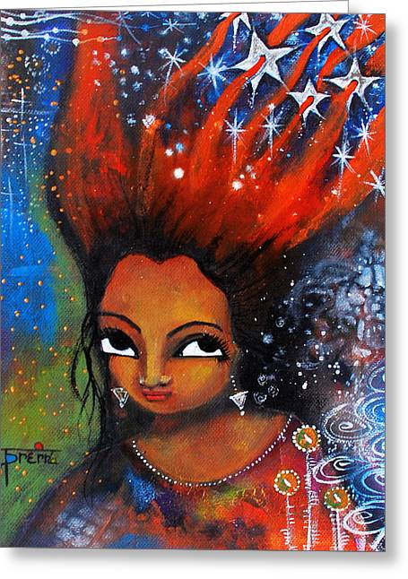 My Hair Is Being Pulled By The Stars  Greeting Card by Prerna Poojara