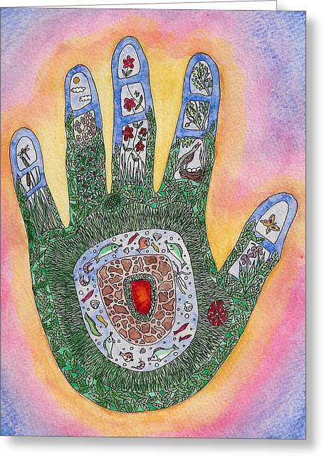 My Handprint On The World Greeting Card by Melanie Rochat