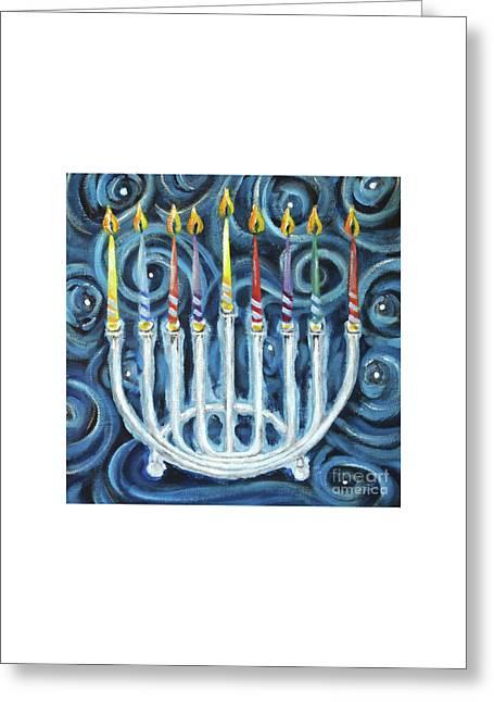 My Hanukkiah Greeting Card by Cheryl Rose