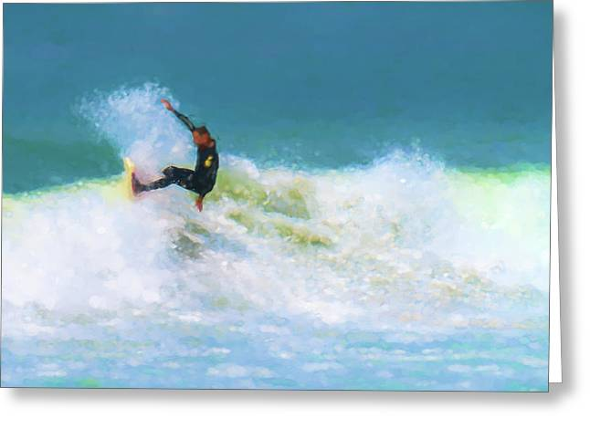 My Happy Place Surfing Watercolor Greeting Card