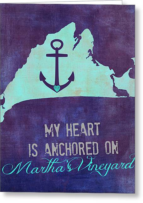 My Heart Is Anchored On Martha's Vineyard Blue Greeting Card