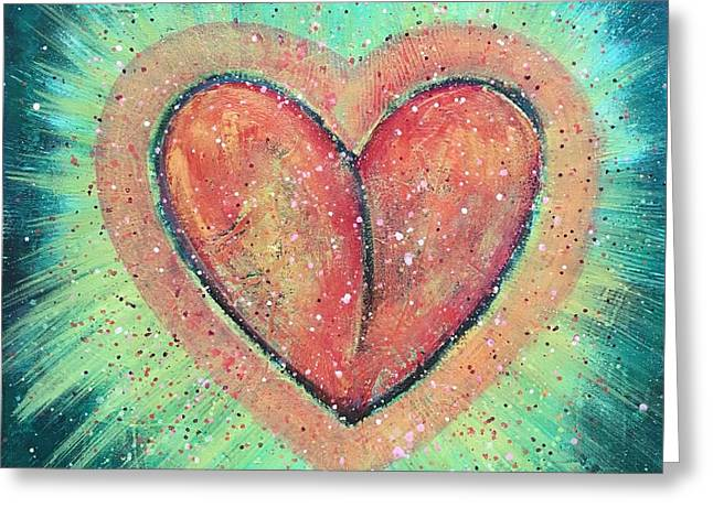 Greeting Card featuring the painting My Heart Loves You by Laurie Maves ART