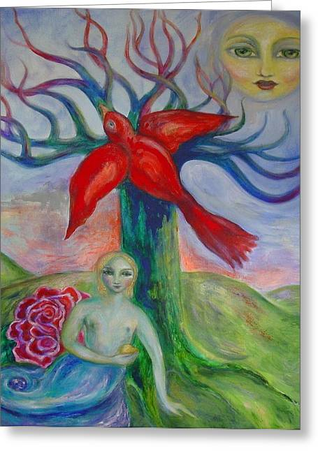 Heart Of The Rose Greeting Cards - My Inner Mermaid Greeting Card by Shoshanna Lightsmith