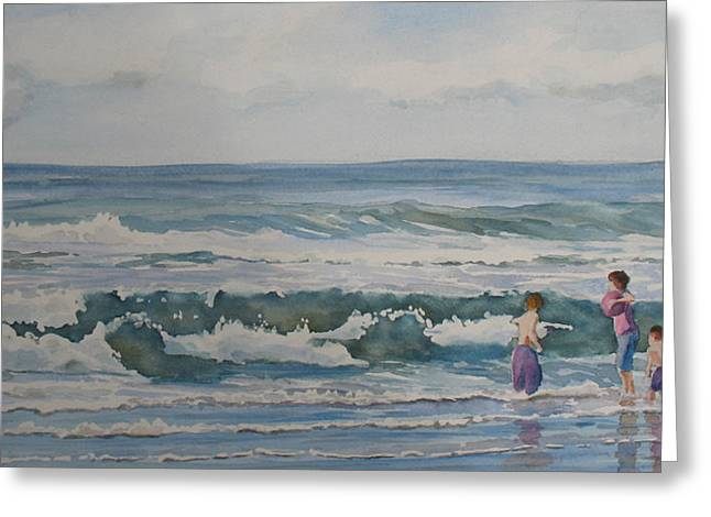 Blue Green Wave Greeting Cards - My Kind of Beach Boys Greeting Card by Jenny Armitage