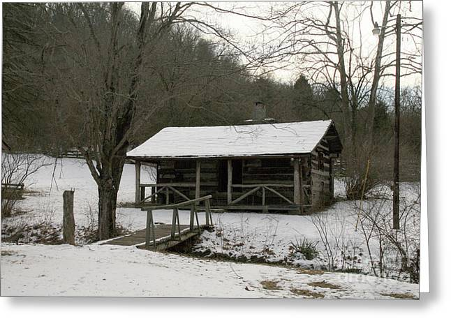 My Lil Cabin Home On The Hill In Winter Greeting Card