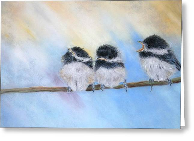 Greeting Card featuring the painting My Little Chikadee by Ceci Watson