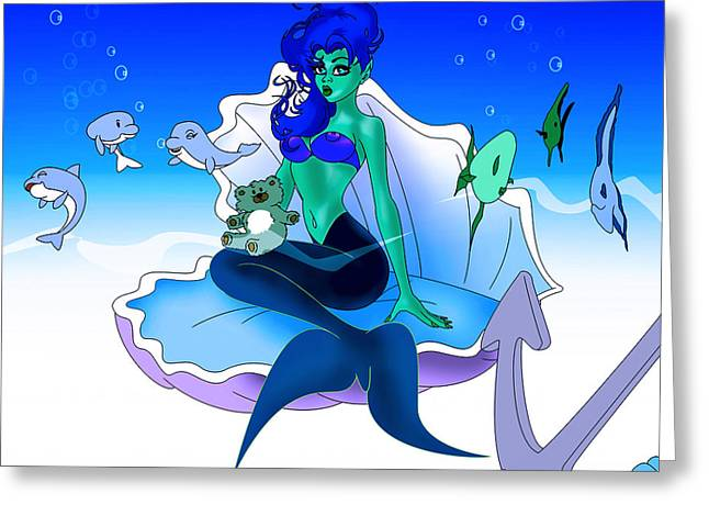 Desing Digital Art Greeting Cards - My Little Mermaid Greeting Card by Lynn Rider