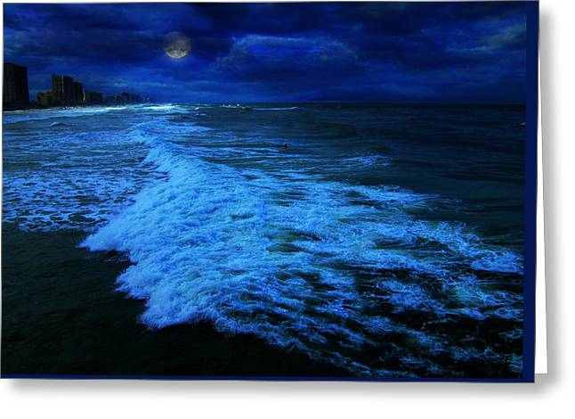 My Melancholy Moon Greeting Card by Elyza Rodriguez