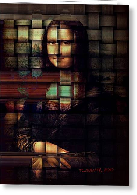 My Mona Lisa  Weave Series Greeting Card by Teodoro De La Santa