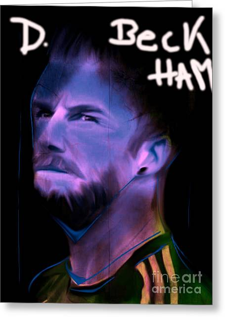 My Name Is David Beckham In Soccer Dress Greeting Card by Felix Von Altersheim