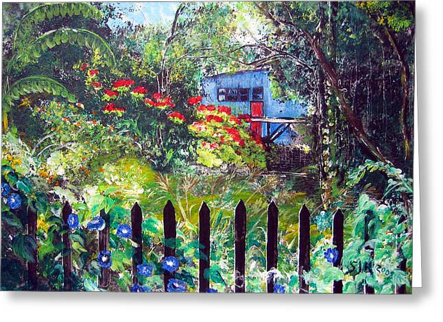 My Neighbors Garden Greeting Card by Sarah Hornsby