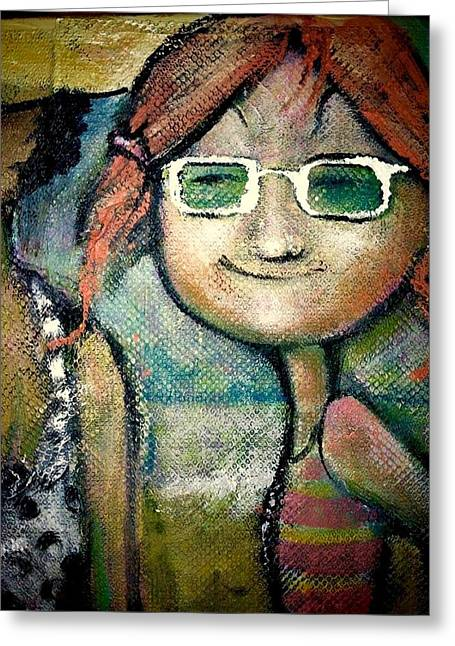 Greeting Card featuring the painting My New Shades by Eleatta Diver