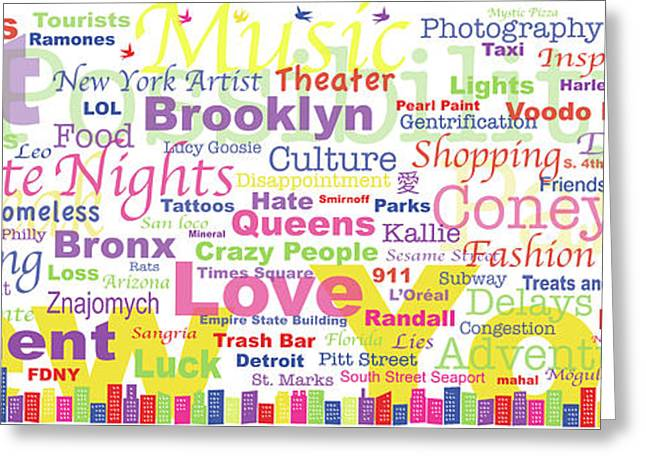 My New York In Words Greeting Card by Kristi L Randall