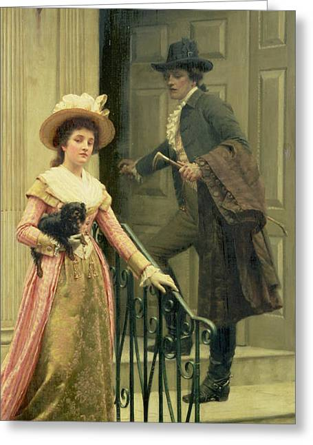Boy Meets Girl Greeting Cards - My Next Door Neighbor Greeting Card by Edmund Blair Leighton
