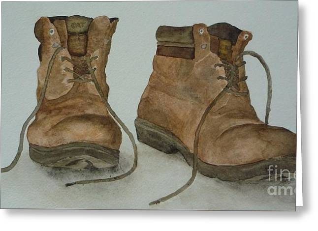My Old Hiking Boots Greeting Card by Annemeet Hasidi- van der Leij
