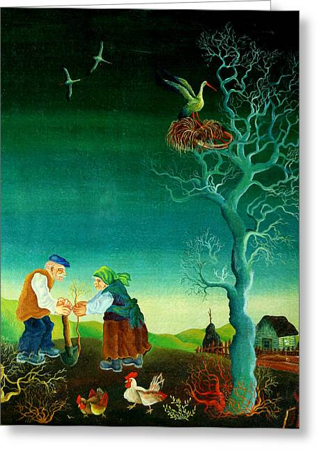 Green Living Greeting Cards - My Old Village  Greeting Card by Leon Zernitsky