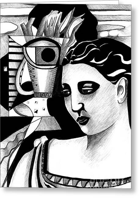 My Outing With A Young Woman By Picasso Greeting Card