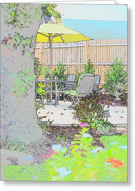 Greeting Card featuring the photograph My Patio by EDi by Darlene