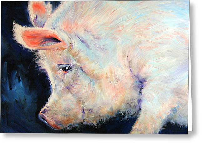 My Pink Pig  For A Lucky Day By M Baldwin Greeting Card by Marcia Baldwin