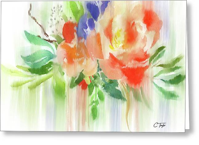 Greeting Card featuring the painting My Roses Gently Weep by Colleen Taylor