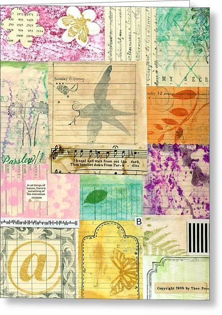 My Secret - Paper Collage Greeting Card by Sandra Foster