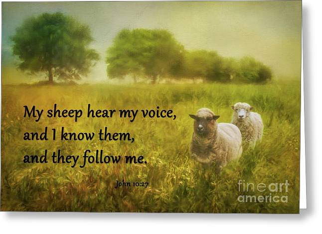 My Sheep Hear My Voice Greeting Card