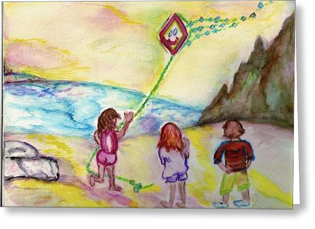 Greeting Card featuring the painting My Sister My Brother My Kite by Helena Bebirian