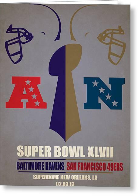 My Super Bowl Ravens 49ers Greeting Card by Joe Hamilton