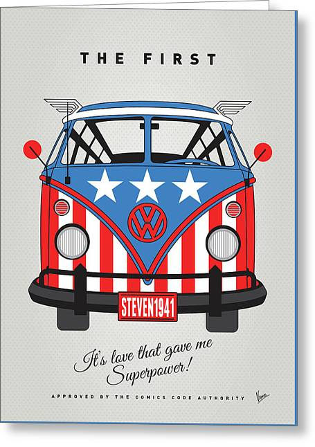 My Superhero-vw-t1-cap America Greeting Card